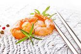 Shrimps with fresh rosemary — Stock Photo