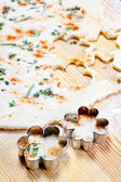 Cheese pastry dough with rolling pin — Stock Photo
