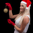 Girl in red Cristmas Santa hat — Stock Photo