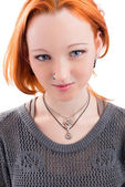 Beautiful yong woman  with red hair isolated on white — Zdjęcie stockowe