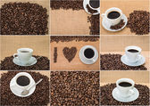 Set of photos Tasty Coffee with coffee beans on background — Stockfoto