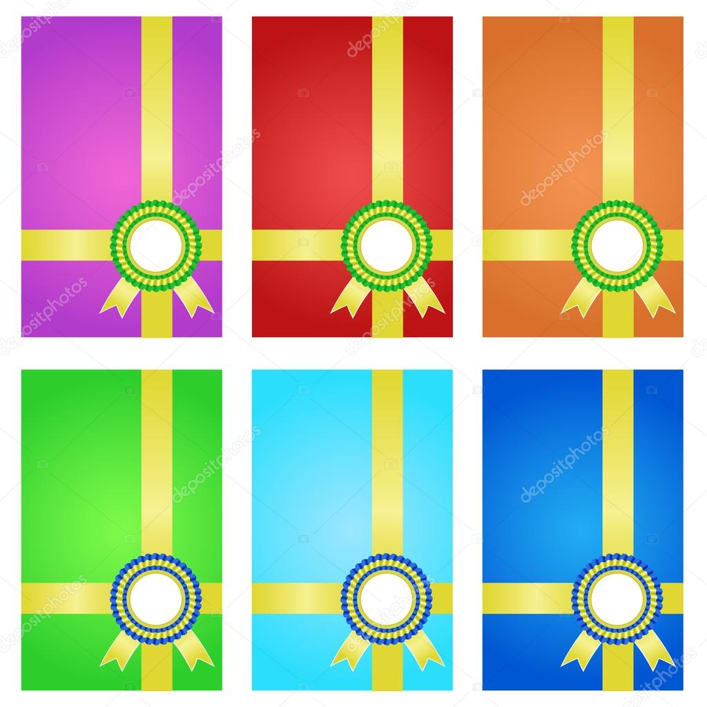 Award ribbons with banner. Color set. — Stock Vector #14803887