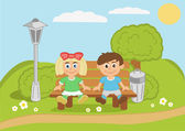 Kids sitting on bench — Stock Vector