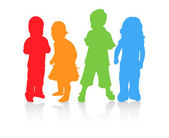 Four children in diffrent color. — ストックベクタ