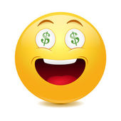 Dollar emoticon — Stock Vector