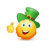 Leprechaun emoticon with thumb up — Stock Vector