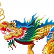 Chinese dragon statue on white background — Stockfoto