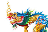 Chinese dragon statue on white background — Stock Photo