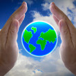 Abstract globe in the hand, protect our world — Stock Photo