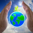 Abstract globe in the hand, protect our world, save the earth — Stock Photo