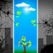Stock Photo: Green life vs. pollution, sustainable development concept