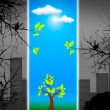 Green life vs. pollution, sustainable development concept — Stock Photo