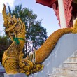 Golden King of Naga at temple's stairs — Stock Photo