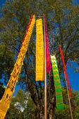Färgglada flagga i tyg med träd och blå himmel bakgrund — Stockfoto