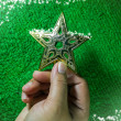 Hand holding golden star for christmas decoration on green backg — Stock Photo #36040991