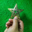 Hand holding golden star for christmas decoration on green backg — Stock Photo #36041041