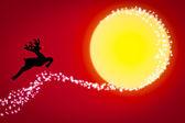 Reindeer on the moon , Christmas background — Stock Photo