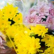 Beautiful bouquet of Chrysanthemum wrapped in plastic sheet  — Photo