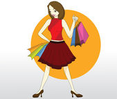 Lady with shopping bag — Stock Vector