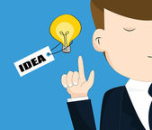 Businessman with light bulb — Stock Vector