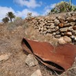 Rusty barrel in the desert  — Stock Photo