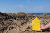 žlutý papír dům — Stock fotografie