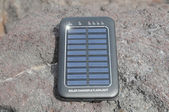 Solar Panel - energy on the beach — Stock Photo