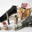 Money and Weapons Concept Weapons and Money — Foto de Stock