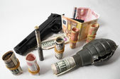 Money and Weapons Concept Weapons and Money — Stock Photo