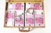 Valigia piena di banconote — Foto Stock