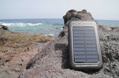 Solar Panel - energy on the beach — Stock Photo