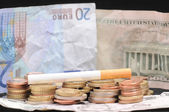 Cigarette and Money — Stock Photo