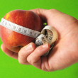 Diet Apple and Meter on the Hand  — Stock Photo