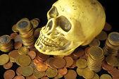 Smrt a peníze koncept lebky a měna — Stock fotografie
