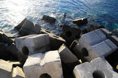 Cubes of Cement Breakwater — Stock Photo