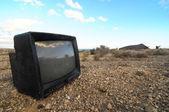 Broken Black Television — Stock Photo
