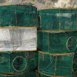 Empty Green Net Fish Traps — Stock Photo