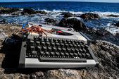Vintage black and white Travel Typewriter — Stock Photo