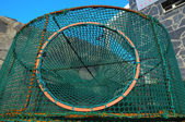 Empty Green Net Fish Traps — 图库照片