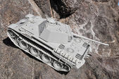 Old Ancient Vinatge Figurine Model Gray Tank — Photo
