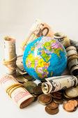 Globe Earth and Money — Foto de Stock