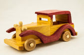Wooden Toy Red and Yellow Car — Stock Photo