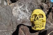 Starożytna sztuka ludzką czaszkę głowy — Zdjęcie stockowe