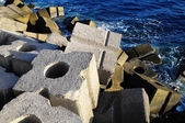 Cubes of Cement Breakwater — 图库照片