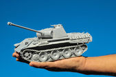 Old Ancient Vinatge Figurine Model Gray Tank — Stockfoto