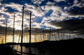 Silhouette Masts of Sail Yacht — ストック写真