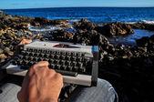 Vintage black and white Travel Typewriter — Stock Photo
