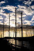 Silhouette Masts of Sail Yacht — Stock Photo