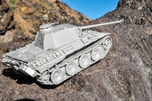 Old Ancient Vinatge Figurine Model Gray Tank — Foto Stock