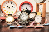 Many different Clocks — Stock Photo